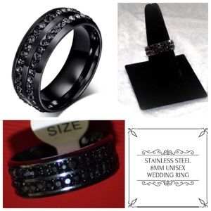 8MM Black Cluster Classy Wedding Engagement Ring
